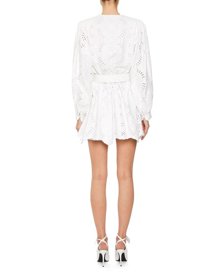 Off-White 80s Sangallo Lace Plunge-Neck Mini Dress