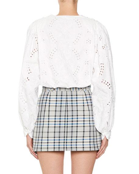 Off-White 80s Sangallo Eyelet-Embroidered Deep V-Neck Shirt