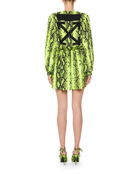 Off-White 80s Deep V Python-Print Mini Dress