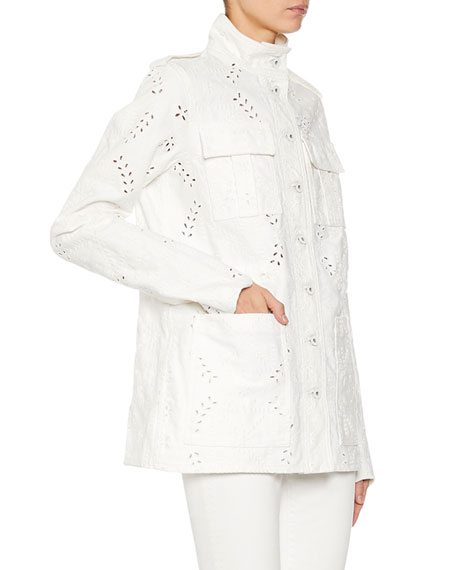 Off-White M65 Eyelet Embroidered Denim Jacket