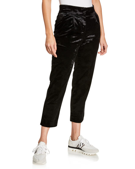 Brunello Cucinelli Straight-Leg Cropped Velvet Pants w/ Pleats