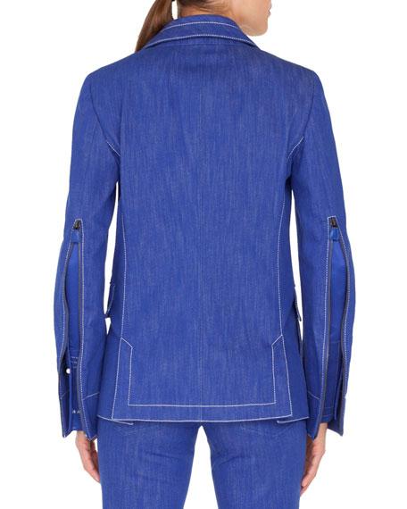 Akris One-Button Denim Jacket w/ Topstitching