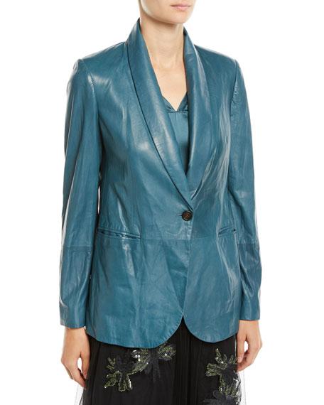 Brunello Cucinelli Shawl-Collar One-Button Leather Blazer w/