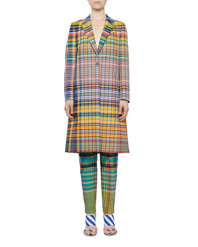 Plaid Knee-Length Two-Button Coat