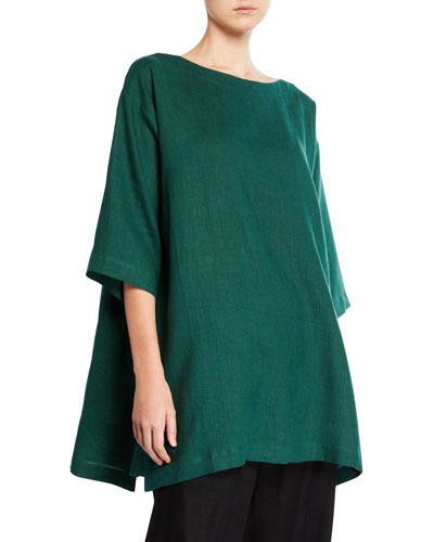 Scoop-Neck Step-Hem Linen Tunic