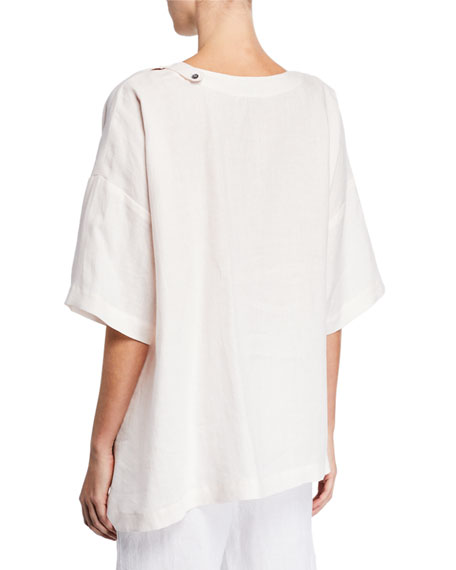 Eskandar Short-Sleeve Italian Linen High-Low T-Shirt