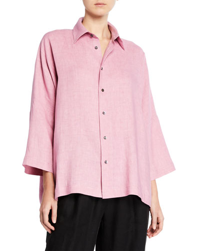Italian Lightweight Linen Button-Front Shirt