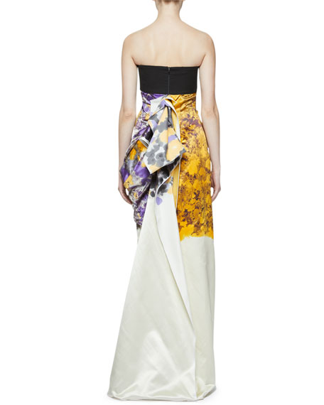 Dries Van Noten Dinastie Floral Strapless Column Gown with Draped Back