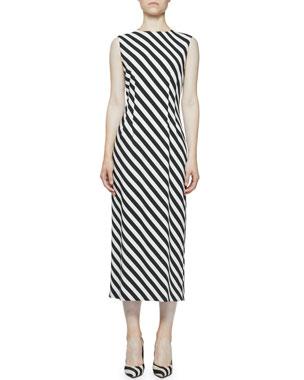 063d390ceeb1 Dries Van Noten Striped Crewneck Sleeveless Midi Jersey Dress