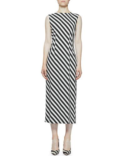 Striped Crewneck Sleeveless Midi Jersey Dress