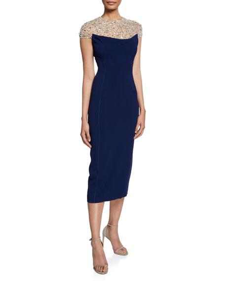 Jenny Packham Olivia Beaded Tulle Illusion Cap-Sleeve Midi Dress