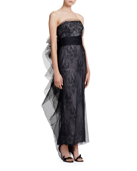 Marchesa Strapless Chantilly Lace Column Gown