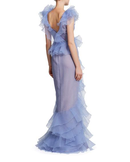 Marchesa Pebbled Organza Deep V-Neck Draped Gown