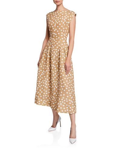 Cap-Sleeve Polka-Dot Linen Dress