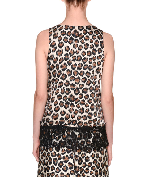 Image 2 of 2: Leopard-Print Sleeveless V-Neck Lace-Trim Top