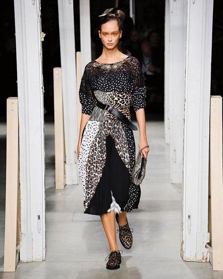Antonio Marras Puff-Sleeve Patchwork Jersey Dress