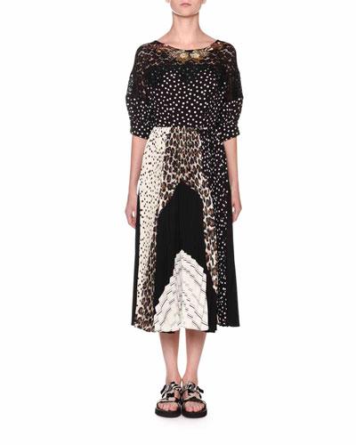 Puff-Sleeve Patchwork Jersey Dress