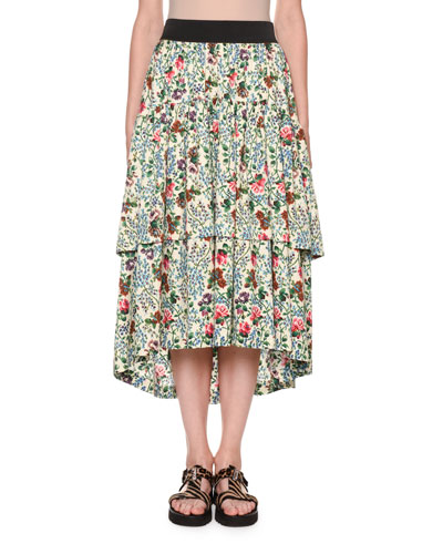 Tiered Floral Midi Skirt with Pockets