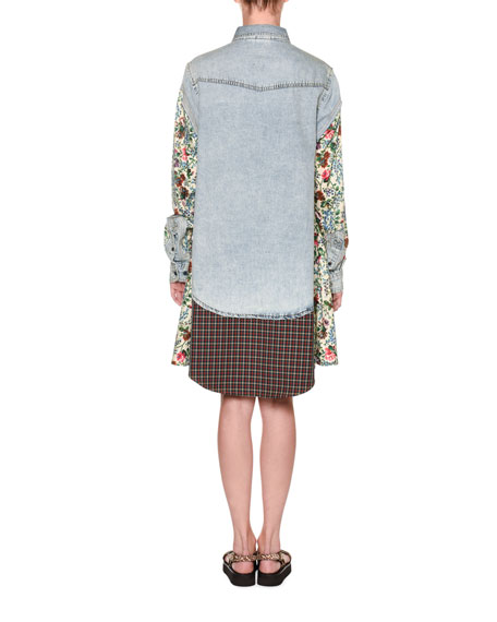 Antonio Marras Floral-Sleeve Denim Shirtdress