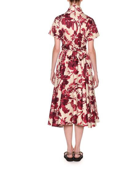 Antonio Marras Short-Sleeve Wrapped Floral Midi Shirtdress
