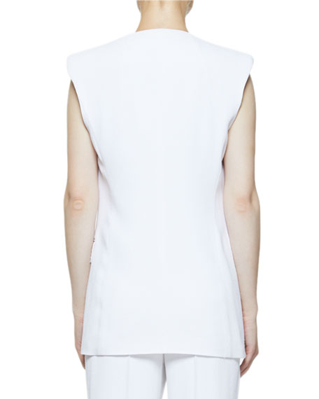 Dries Van Noten Barona Padded-Shoulder Crepe Vest