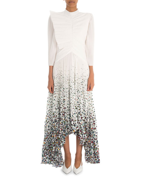 Givenchy Long-Sleeve Pleated Crepe  Gown