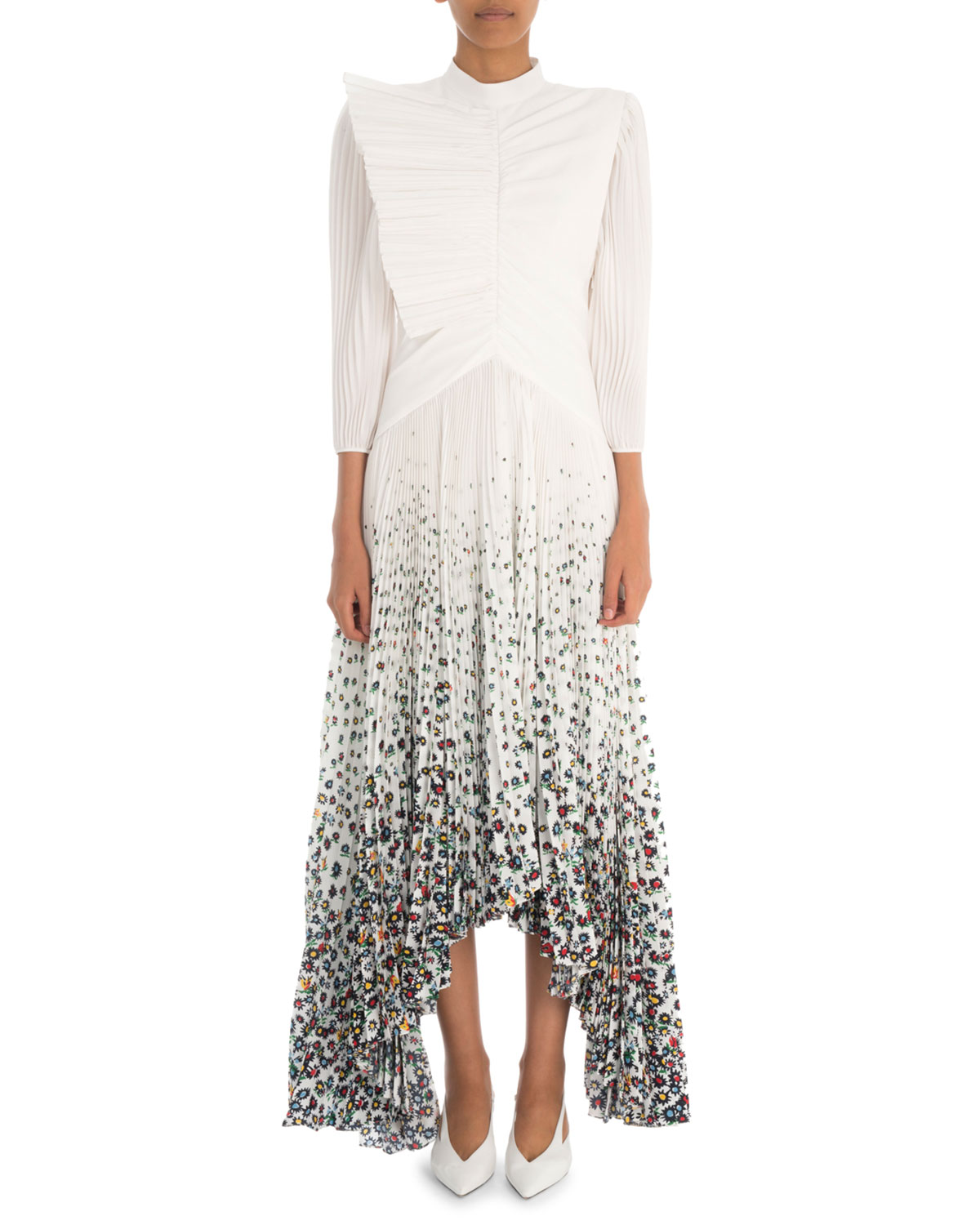 c03d07bc77e Givenchy Long-Sleeve Pleated Crepe Gown