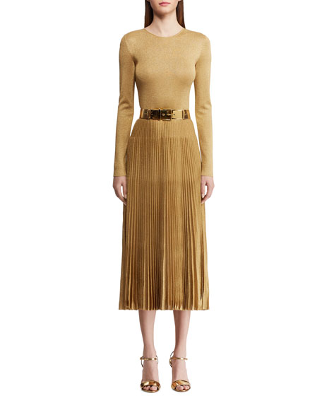 Ralph Lauren Linings PLEATED CREWNECK DRESS