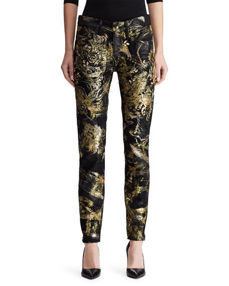 Ralph Lauren Collection 400 Matchstick Jeans with Crystal Embroidery