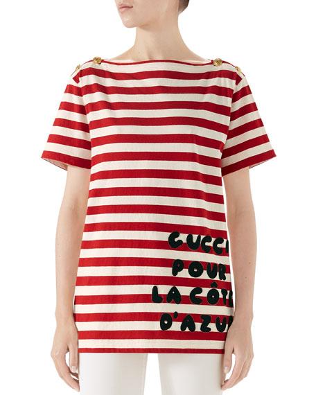 Gucci Cote d'Azur Striped Patch T-Shirt