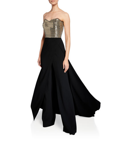 Strapless Metallic-Bodice Skirted Jumpsuit