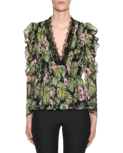 Ruffled Bracelet-Sleeve Plant-Print Silk Blouse