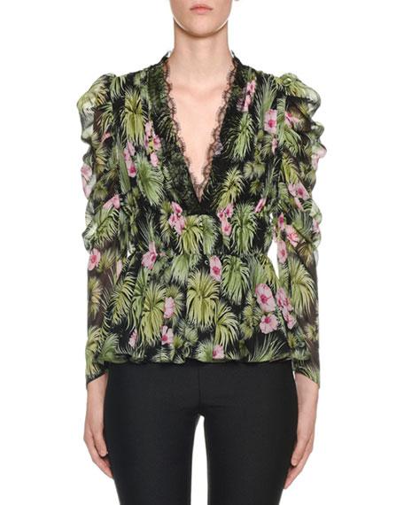 Giambattista Valli Ruffled Bracelet-Sleeve Plant-Print Silk Blouse