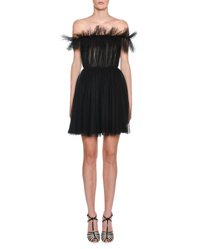 Off-The-Shoulder Ruffled Organza Dress