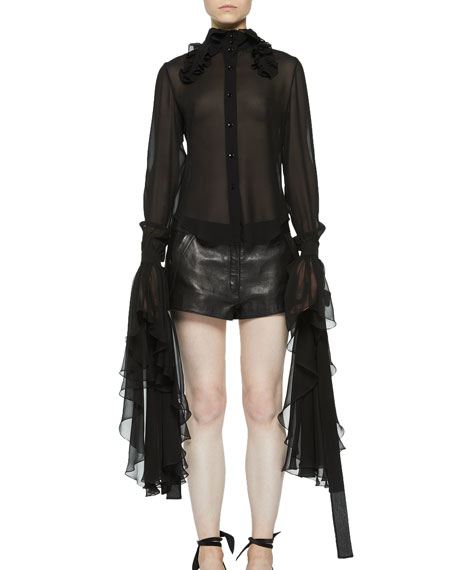 Saint Laurent Long-Sleeve Blouse with Exaggerated Flounce Cuffs