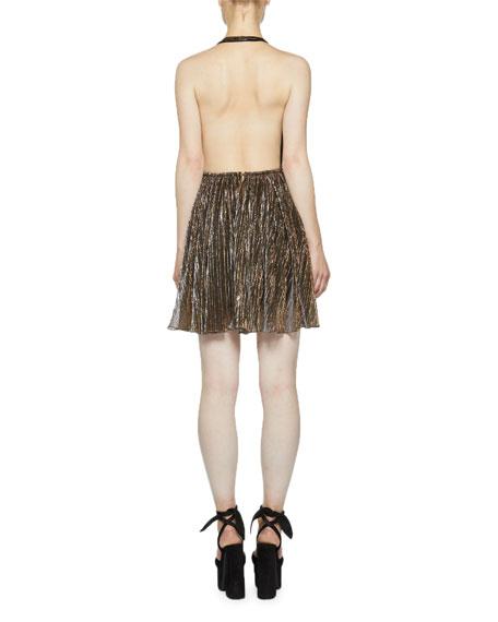 Saint Laurent Backless Metallic Plisse Halter Dress