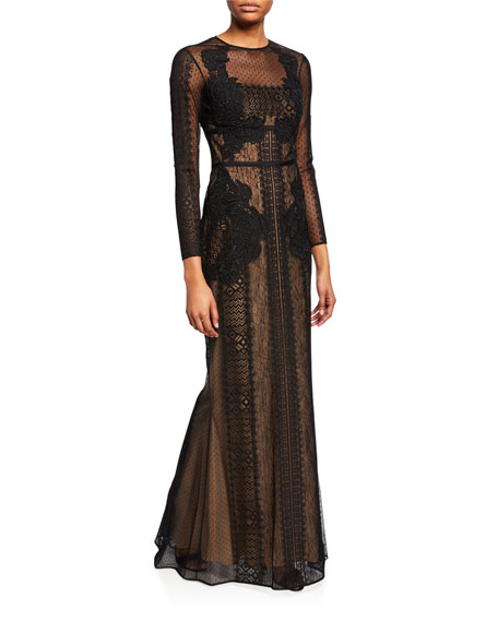 Zuhair Murad Long-Sleeve Lace Illusion Mermaid Gown