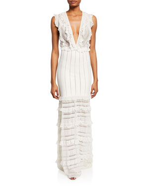 cfbe666203b Zuhair Murad Chrysalis Ruffled Knit and Lace Gown