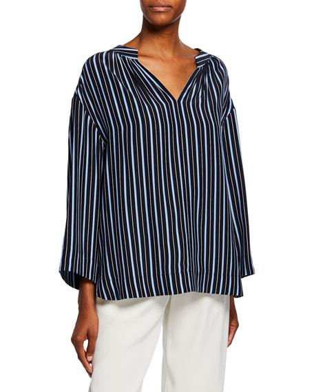 Co Kimono-Sleeve Striped Silk Blouse