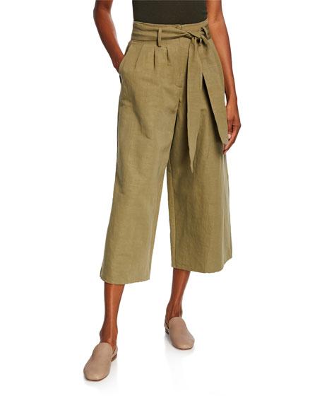 Co Tie-Waist Wide Leg Cropped Pants
