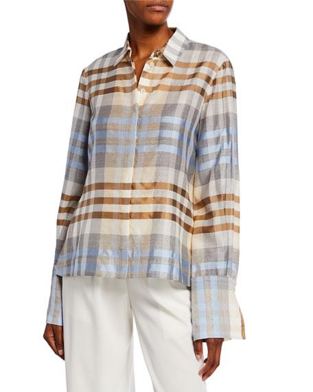Co Wool/Silk Plaid Button Front Shirt