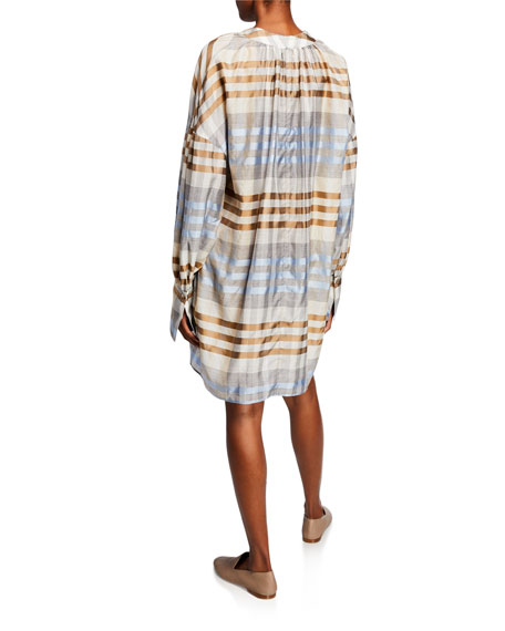 Co Plaid Woo/Silk Patch-Pocket Dress