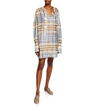 41a965151d9 Co Plaid Woo Silk Patch-Pocket Dress