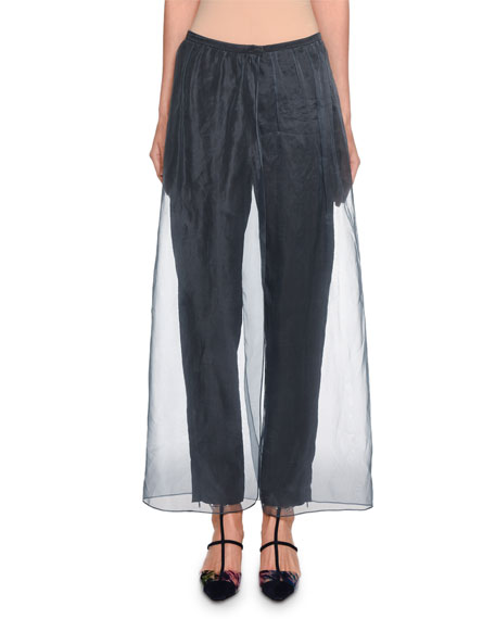 Giorgio Armani Silk-Trim Silk Pants w/ Organza Overlay