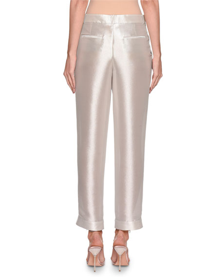 Giorgio Armani Shimmer Silk Pleated Pants