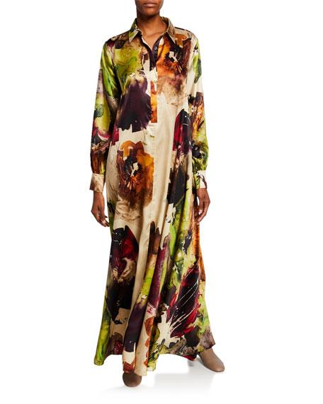 Co Floral Satin Maxi Shirtdress