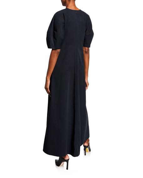 Co Bubble-Sleeve Twill Maxi Dress