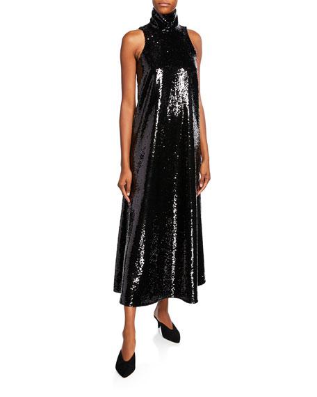 Co Sequined Halter-Neck Cocktail Dress