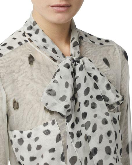 Burberry Animal-Print Tie-Neck Long-Sleeve Silk Blouse