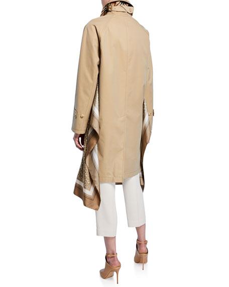 Burberry Silk Scarf-Trim Gabardine Car Coat